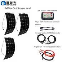 300 W Kits DIY Sistema Solar 3 piezas 100 W panel solar flexible 30A rojo Controlador solar 3 m MC4 clips de cables rojos y negros