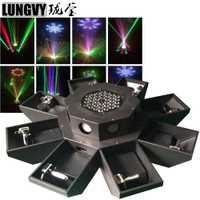 Envío Gratis 8 ojos UFO RGB haz ancho DJ Disco Led Bar 8 ojos 8 cabeza Laser Show DMX cabeza móvil luz