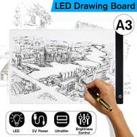 LED tableta gráfica escrito pintura caja de luz de copia tablero de dibujo Digital Tablet Artcraft A3 copia de la placa de LED