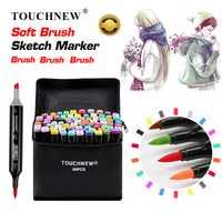 TOUCHNEW cepillo suave marcadores pluma dibujo Dual cepillo marcadores a base de Alcohol marcadores Manga dibujo diseño de animación arte suministros