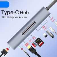 USB-C tipo C a 4 K HDMI VGA adaptador Thunderbolt 3 para Samsung Galaxy S10/S9/S8 huawei Mate 20 Pro USB-C HUB multipuerto convertidor