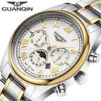 Relogio Masculino GUANQIN reloj de marca de lujo de moda Relojes de cuarzo hombres de acero inoxidable Correa impermeable Relojes reloj