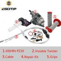 ZSDTRP ajuste afinado de Jet Park PZ26 PZ27 PZ30 carburador + visible Twister + Cable + empuñaduras para Honda KTM Yamaha TTR250