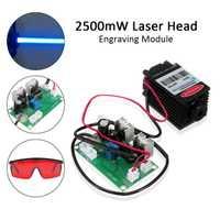 Module Laser bleu de mise au point haute puissance 450nm 2500 mW TTL 12 V bricolage CNC accessoires de gravure Laser 2.5 W + lunettes
