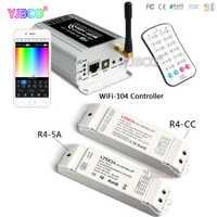 WiFi-104 LED wifi controlador y M12 IR remoto 2,4 GHz WiFi soporta max12 zonas de control, r4-5A/R4-CC zona receptor para la tira del led
