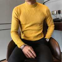 Suéter de Otoño de alta calidad para hombre, nuevo, ajustado, con patrón geométrico, jersey para hombre, ropa 2018, tejido a la moda, 3XL-M