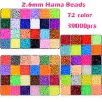 72 cuentas Perler unids de Color 39000 piezas Juego de cajas de 2,6mm cuentas Hama para niños rompecabezas educativo DIY juguetes fusible cuentas tablero