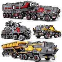 DHL película Deambulante tierra pedernal militar transporte pesado camión coche modelo Compatible bloques técnicos niños juguetes regalos