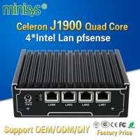 Minisys 4 gigabit lan cortafuegos de red intel J1900 Sistema de cuatro núcleos sin ventilador mini servidor de pc para windows 7 8 10 pfsense
