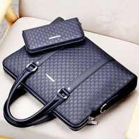 Doble capa de microfibra de cuero sintético de los hombres Maletín de negocios Casual bolso de hombro bolsa de mensajero portátil bolso de viaje