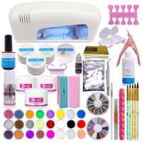 9 W UV lámpara secadora Blanco 18 Color polvo acrílico Rhinestones UV Gel arte del clavo herramientas de Gel Kit Set
