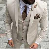 Dernières manteau pantalon conceptions Beige hommes costume de bal smoking Slim Fit 3 pièces marié mariage costumes pour hommes personnalisé Blazer Terno Masuclino