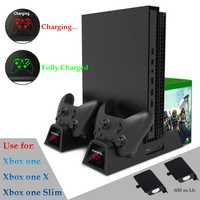 De enfriamiento Vertical soporte y controlador de carga estación Dock para Xbox uno X/Xbox One Slim con 2 Pack 600 mAh recargable batería