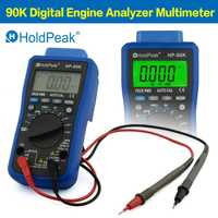 HoldPeak DC/AC Digital motor analizador multímetro Tester herramienta de diagnóstico del coche ms-PULES Tach Dwell con salida de datos por USB 90 K