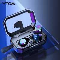 YTOM auriculares inalámbricos Bluetooth 5,0 3D con 3000 mAh banco de potencia de señal bajo IPX6 al aire libre inalámbrico auriculares para IOS Android