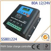 80A 12 V/24 V PWM controlador de carga solar con LED y pantalla LCD, auto-identificación de voltaje, diseño MCU con un excelente rendimiento