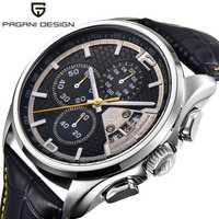 Reloj de pulsera de cuarzo del ejército al aire libre amarillo del diseño de PAGANI, relojes de hombre analógicos de fecha, reloj cronógrafo de hebilla de Pin de cuero genuino