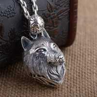 S925 de plata esterlina al por mayor de plata tailandesa estilo antiguo personalidad único hombre lobo cabeza colgante