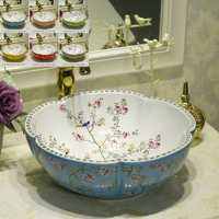 Multicolor en forma de flor counterop arte lavado de lavabo de cerámica se hunde con flor pájaro diseño