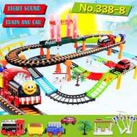 Brillante y música rompecabezas de pista de carreras de carretera modelo ranuras de juguete de carreras de coche eléctrico conjunto de juguete juguetes de los niños para los niños