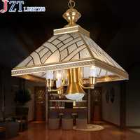 Cobre completo cobre colgante de luz breve lámpara moderna europea moda rústico luces del dormitorio restaurante lámpara colgante de luz