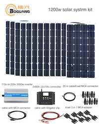 Kit de Sistema Solar Boguang 1200 w 100 w Módulo de panel solar celda 120A controlador 3000 w cable inversor conector MC4 carga de alimentación de 12 v