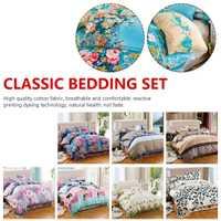 Juego de ropa de cama clásica de lino de flores juego de edredón azul gris funda de edredón juego de cama Pastoral cómoda edredón