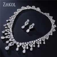 ZAKOL lujo precioso diseño deslumbrante gota de agua conjunto de joyas de Zirconia cúbica para las mujeres boda cena vestido FSSP034