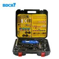 BDCAT doble eléctrico Dremel herramienta giratoria de velocidad Variable Mini taladro con eje flexible y 256 unids conjunto de accesorios de herramientas eléctricas