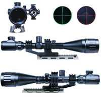 6-24x50 Tactical Rifle Scope caza óptica alcance Mil-dot iluminado Snipe Scope + punto rojo mira láser + doble anillo