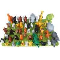 50 pcs/lot animaux Zoo gros blocs de construction éclairer enfant jouets Lion girafe dinosaure Compatible grand briques à monter soi-même enfants cadeau