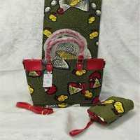 Nuevo bolso de mano para mujer y 6 yardas garantizado verdadera cera holandesa real, tela africana impresa para coser patchwork