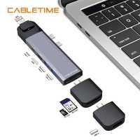 Cabletime Dual tipo C HUB USB de 4 K HDMI Lan Thunderbolt 3 SD USB3.0 + USB-C cargador de 9 en 1 Adaptador para MacBook Pro 2016 de 2017 N176