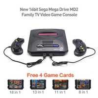 16bit Sega Mega Drive MD2 familia envío 4 tarjetas de juego nuevo reproductor de TV consola de videojuegos juego Retro PAL salida