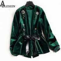 Reino Unido nuevo estilo de invierno Cordón de lujo chaqueta chaquetas 2018 manga larga verde/Negro Flor de Primavera de terciopelo con cuentas chaqueta de las mujeres