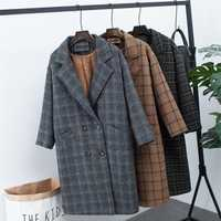 Nueva ropa de invierno más chaqueta de lana gruesa de terciopelo versión coreana Femenina de la larga suelta abrigo de lana a cuadros de gran tamaño