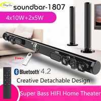 Barre de son TV sans fil haut-parleur Bluetooth tissu élégant barre de son Hifi 3D Support stéréo Surround RCA AUX HDMI pour Home cinéma