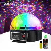 9 Color Bluetooth Disco mágica luz de la lámpara de la bola de energía de la batería Luz de escenario portátil reproductor de música Control de sonido láser proyector de Navidad