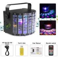 Disco LED de luz láser proyector de sonido a distancia de control RGB luz DJ luz de la etapa de música soporte SD/USB inalámbrico bluetooth