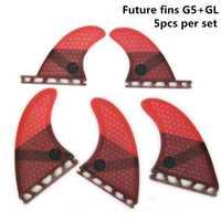 5 piezas/4 piezas aletas de Upsurf futuro Fin G5 + GL tabla de surf de aletas de fibra de vidrio de nido de abeja Quad aletas Quilhas propulsor