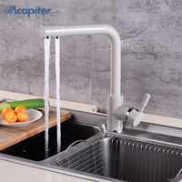 360 Swivel Beige latón grifos de la cocina cubierta montó el mezclador grifo filtro de agua grifo mezclador para la cocina