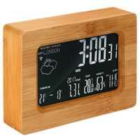 HOT-LCD Estación de pronóstico de madera Wi-Fi inalámbrico Digital estación despertador para teléfonos inteligentes iOS Android, Color madera
