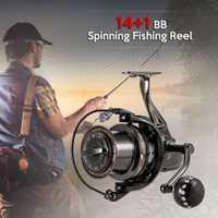 14 + 1BB rodamientos de bolas carrete de pesca 4,0: 1 Metal hilado carrete de pesca carrete izquierda/derecha intercambiable mango carretes de pesca