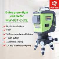 3D MW-93T-2-3GJ 12 líneas rojo verde nivel láser con batería rayo láser de línea-nivelación 360 Horizontal Vertical poderoso