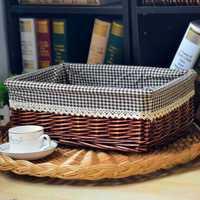 Tamaño grande 40 cm mimbre Rectangular tejido canasta de almacenamiento cesta del almacenaje de la vendimia sauce pan Bins