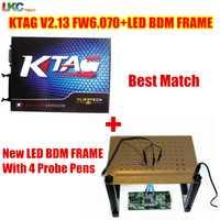 ¡DHL libre! Mejor partido KTAG V2.13 FW 6.070 versión principal + LED marco BDM K TAG SW V2.13 No Tokens Limited ECU herramienta de adaptación de la viruta