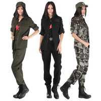 Alta calidad campo fan ejército camuflaje del algodón de las mujeres chaqueta de dos piezas entre plantas Militar femenina uniforme