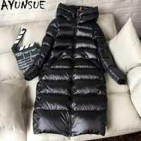 Ayunsuede 90% chaqueta de plumón de pato blanco grueso abrigo de invierno largo de mujer con capucha de Corea chaqueta de globo femenino Doudoune mujer dj727