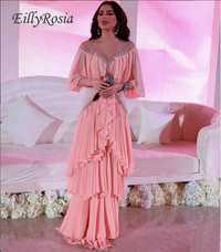 Vestido de noche de chifón rosa de bebé con mangas de volantes de cuello transparente con lentejuelas hasta el suelo Vestidos de Noche de mujer Libano