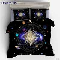 AHSNME Sistema Solar funda nórdica dios sol lecho estilo bohemio colcha universo planeta cama 3 piezas King Queen